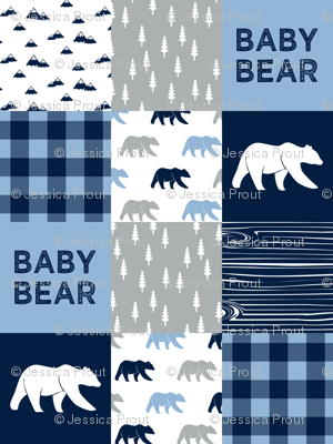 baby bear patchwork quilt top    baby blue and navy
