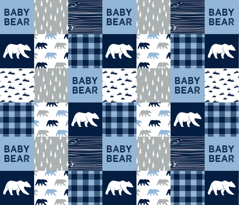 baby bear patchwork quilt top    baby blue and navy fabric by littlearrowdesign on Spoonflower - custom fabric