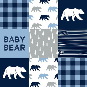 baby bear patchwork quilt top || baby blue and navy