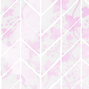 Pink Ivy Grape Leaves Herringbone