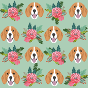 beagle florals fabric pink dogs and florals fabric - mint