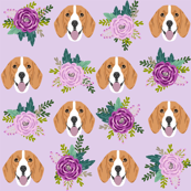 beagle florals purple and mint design cute florals and dog design