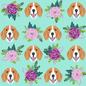 beagle florals purple and mint design cute florals and dog design - mint