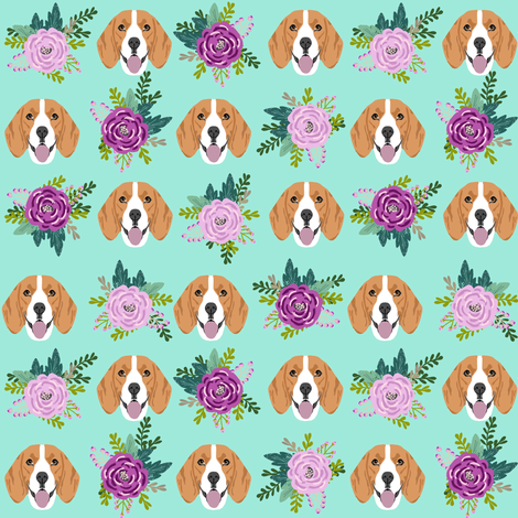 beagle florals purple and mint design cute florals and dog design - mint fabric by petfriendly on Spoonflower - custom fabric