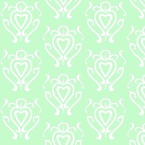 Heart Damask 3- Light Green