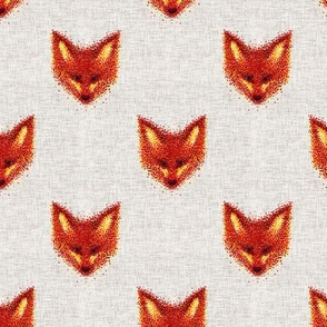 Pointilism Fox Face Pattern on Linen Background