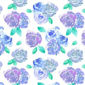 Blue and Purple Watercolor Rose Pattern