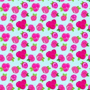 Roses Floral Pattern on Blue