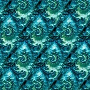 curly fractal fur - teal