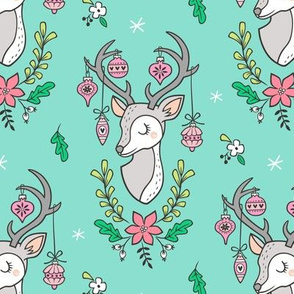 Christmas Deer Head with Ornaments & Floral on Mint Green