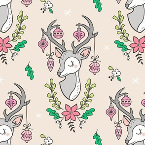 Christmas Deer Head with Ornaments & Floral on  Sand White