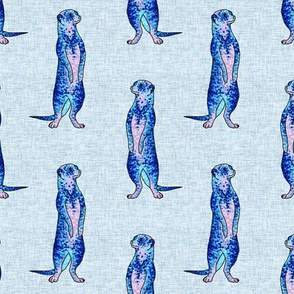 Blue Pointilism Meerkat Pattern