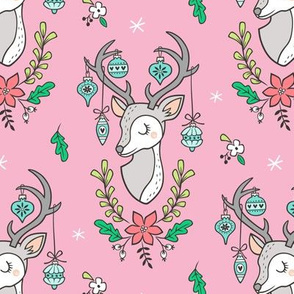 Christmas Deer Head with Ornaments & Floral on Pink