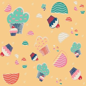 cupcake yellow background