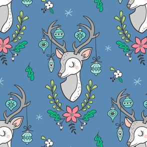 Christmas Deer Head with Ornaments & Floral on Dark Blue Navy