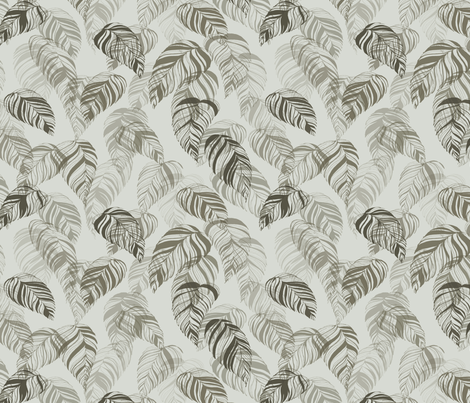 summer_leaves-grey fabric by youdesignme on Spoonflower - custom fabric