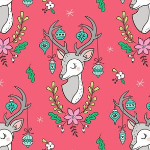 Christmas Deer Head with Ornaments & Floral on Red