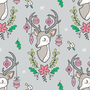 Christmas Deer Head with Ornaments & Floral on Light Grey
