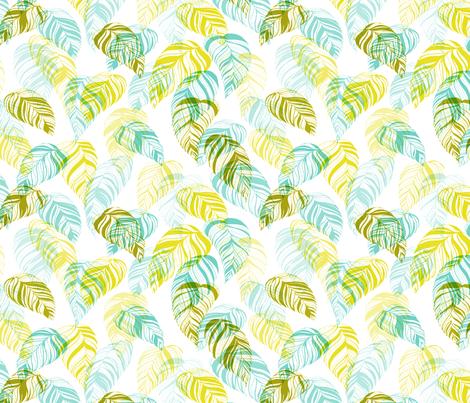 summer_leaves-aqua_green fabric by youdesignme on Spoonflower - custom fabric