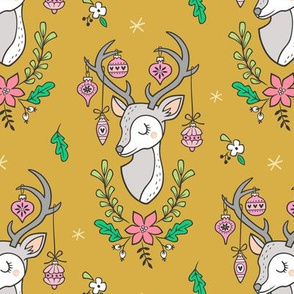 Christmas Deer Head with Ornaments & Floral on Mustard Yellow