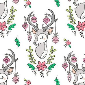 Christmas Deer Head with Ornaments & Floral on White