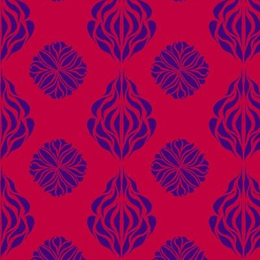 SINGAPORE FLORAL Red & Purple