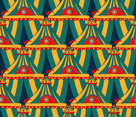 Circus Tents Large - Yellow, Green fabric by fernlesliestudio on Spoonflower - custom fabric