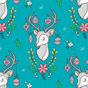 Christmas Deer Head with Ornaments & Floral on Blue Aqua