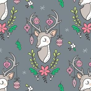 Christmas Deer Head with Ornaments & Floral on Dark Grey