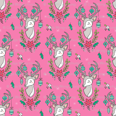 Christmas Deer Head with Ornaments & Floral on Dark Pink