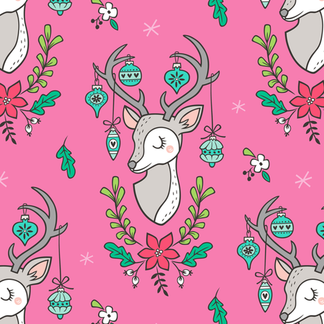 Christmas Deer Head with Ornaments & Floral on Dark Pink fabric by caja_design on Spoonflower - custom fabric
