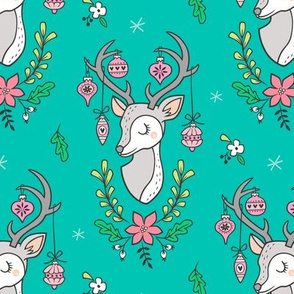 Christmas Deer Head with Ornaments & Floral on Dark Green Mint