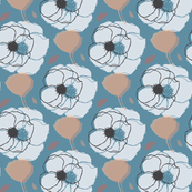 Flower Layered Pattern - Blue