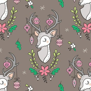 Christmas Deer Head with Ornaments & Floral on Dark Warm Grey