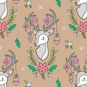 Christmas Deer Head with Ornaments & Floral on Hazelnut