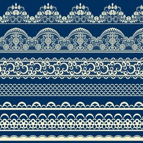 Lace ribbons on dark blue