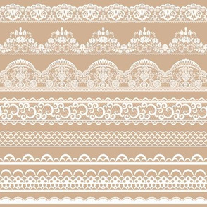Lace ribbons on beige