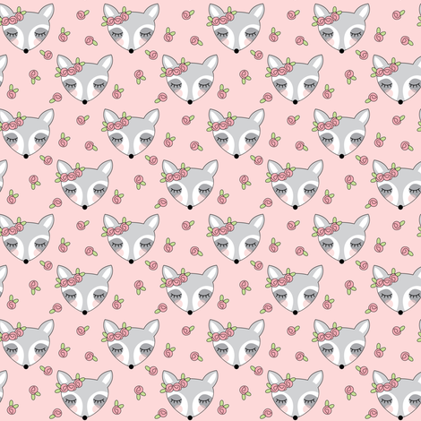 tiny raccoons-with-pink-rosebuds fabric by lilcubby on Spoonflower - custom fabric