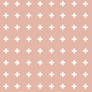 Swiss Crosses - Deco Coral/White