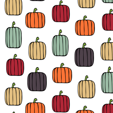 multi pumpkins - fall colors fabric by littlearrowdesign on Spoonflower - custom fabric
