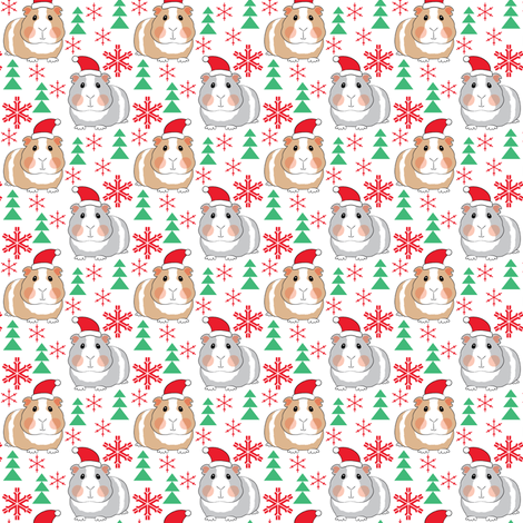 tiny christmas guinea-pigs-with-santa-hats fabric by lilcubby on Spoonflower - custom fabric