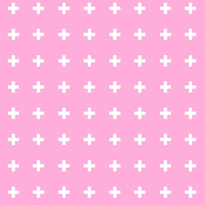 Swiss Crosses - Perfect Pink/White