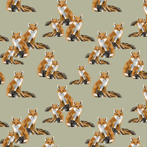 Friendly Foxes on Pale Green