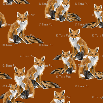 Friendly Foxes on Burnt Orange - Larger Scale