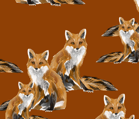 Friendly Foxes on Burnt Orange - Larger Scale fabric by taraput on Spoonflower - custom fabric