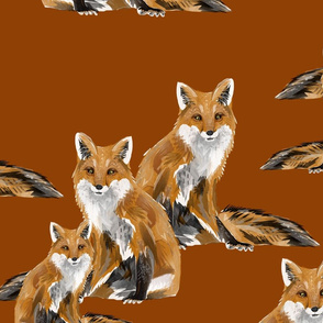 Friendly Foxes on Burnt Orange