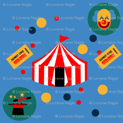 Circus-in-Blue-background