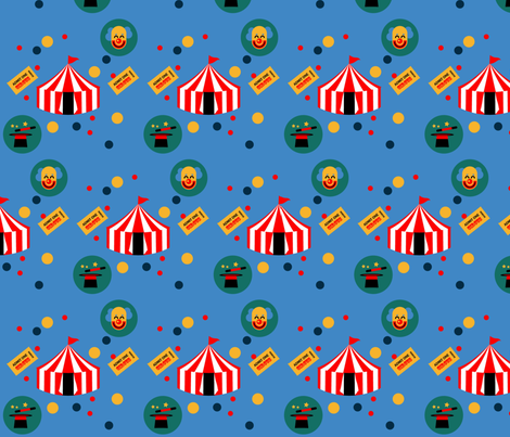 Circus-in-Blue-background fabric by bugs4 on Spoonflower - custom fabric
