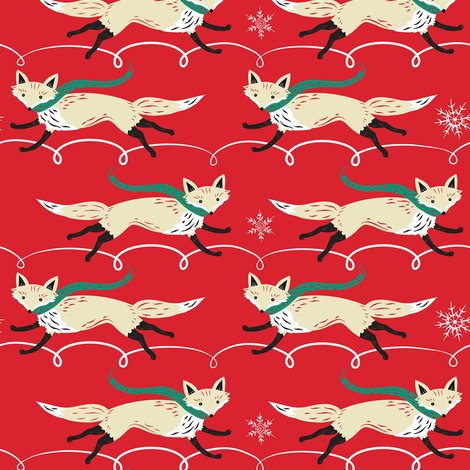 Running_Foxes_on_Red fabric by johannaparkerdesign on Spoonflower - custom fabric
