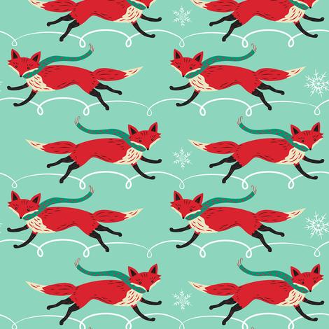 Running_Foxes_on_Aqua fabric by johannaparkerdesign on Spoonflower - custom fabric